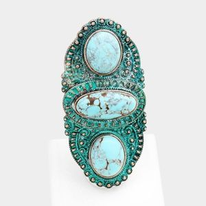 OVERSIZED TRIBAL ANTIQUE OVAL TURQUOISE RING
